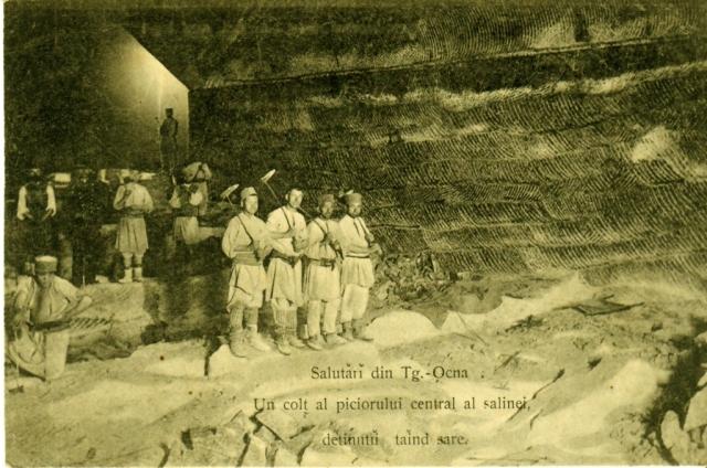 Carte poştală. Târgu-Ocna, deţinuţi în salină, sec. XIX.